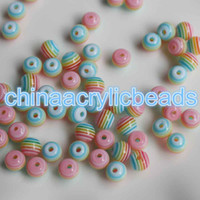 Wholesale 8mm Striped Resin Beads - Wholesale 100Pcs 8MM Resin Striped Round Beads Transparent Striped Round Resin Spacer Beads Charms For Jewelry Making