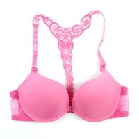 Wholesale Lace Underwire Racerback - Wholesale- Sexy Front Closure Smooth Bras Charming Lace Racer Back Racerback Push Up Bras