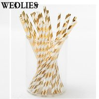 Wholesale Gold Decorative Foil - Wholesale-25pcs lot Foil Paper Straws for Wedding Baby Shower Birthday Party Decorative Gold Silver Drinking Straws Supplies