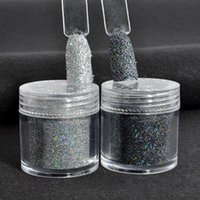 Hot selling Holographic Colorful Laser Black Glitter 10g Nails Art flash Manicure UV Tip Powder Dust Nail Tips Decoration black silver color