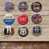 Wholesale 40 CM NEW YORK PARIS BEACH EFFIEL US ROUTE66 night beer bottle cap home decorative iron painting ornaments bar cafe wall hanging metal craft