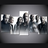 Wholesale Fast Poster Printing - 5Pcs Set Framed HD Printed Movie Fast And Furious Picture Wall Art Canvas Print Room Decor Poster Canvas Painting Art