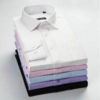camisas de sarga al por mayor-Nueva llegada de alta calidad de sarga clásica camisas de los hombres de negocios de manga larga cuello de cobertura más el tamaño 5xl camisa de vestir
