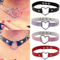 Wholesale Sexy Goth Punk - Halloween Sexy Catwomen Leather Rivet Punk Goth Heart Ring Collar Choker Fancy Dress costumes Leash Strap Necklace party favors