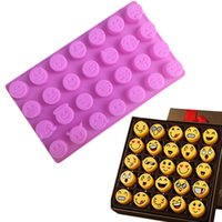 Wholesale Diy Baking - Emoji Cake Chocolate Cookies Ice Cube Soap Silicone Mold Tray Baking Mold Personality Expression Ice Mold Pink DIY Emoji Ice Cube Tray