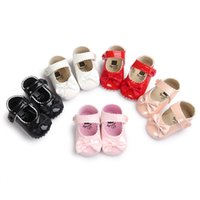 Wholesale Infant Ballet - Wholesale- 5Colors Infant Toddler Newborn Baby Girl Princess Mary Jane Bow PU Leather First Walkers Babe Ballet Dress Shoes Soft Soled 0-1T