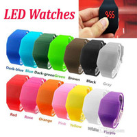 Wholesale Gel Led Watches - Digital LED Sport Watch Candy Colors Rubber Gel jelly Unisex Students Electronic Silicone Strap wristwatch Bracelet Waist Watches 100Pcs Up