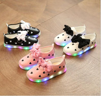 Wholesale Types Girl Shoes - 2017 the new type of luminous female children s shoes spring and autumn led colorful flash girls lit rubber single shoes butterfly knot
