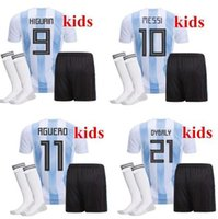 Wholesale Cheap Argentina Soccer Jersey - Top Quality 2018 World Cup MESSI DYBALA Argentina Kids soccer jersey With socks Maradona Cheap Argentine ICARDI football kits 2017 18