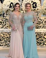 robes perlées argent taille plus achat en gros de-2018 mère sexy de la mariée robes bijou col manches longues argent perles en dentelle appliques perles en mousseline de soie plus la taille robe de soirée robe de soirée