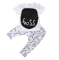 Wholesale Organic Baby T Shirts Wholesale - Newborn 2017 toddler baby boy clothing sets summer 2-piece outfits print t-shirt and pants black&white lovley boy clothes sets