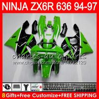 Wholesale Zx6r Factory Fairings - 8Gifts 23Colors For KAWASAKI NINJA ZX636 ZX6R 94 95 96 97 ZX-6R ZX-636 33HM9 600CC ZX 636 factory green ZX 6R 1994 1995 1996 1997 Fairing