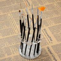 nail display stands toptan satış-Toptan-Nail Art 12 Delik Kalemlik Akrilik Jel Tırnak Fırçası Kalem Tutucu Kalp Altın Istirahat Ekran Fırçalar Standı