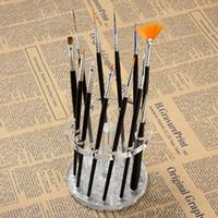 akrilik kalem ekranlar toptan satış-Toptan Satış - Toptan-Nail Art 12 Delik Kalemlik Akrilik Jel Tırnak Fırçası Kalem Tutucu Kalp Altın Dinlenme Ekran Fırçalar Standı