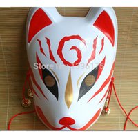 Wholesale japanese fox cosplay resale online - Eco Friendly Hand Painted Fox Mask Endulge Japanese Full Face Pvc Halloween Animal Mask Masquerade Cosplay Party Masks