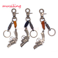 Wholesale European Key Ring Chain - Leather Key Chain Pistol Gun Pendants Car Key Rings Material Antique Copper Alloy Personalized Design Vintage European Charms Jewelry