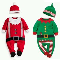 Wholesale Girls Satin Rompers - Newborn Baby boys Girls Xmas Santa Claus Rompers Infant Babies Kid Cute Christmas Romper+hat headband Outfits Kids Clothes