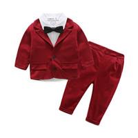 Wholesale Children S Long Down Jacket - Boys clothes kids suits children boy gentleman suit jacket+shirt+pants 3 pcs Clothing Set 2 Colors 4 s l