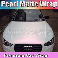 Wholesale Vinyl Sticker Pearl - Premium Satin pearl white to pink shift Wrap With Air free Release Pearlescent Matt Film Car Wrap styling Unique covering 1.52x20m Roll