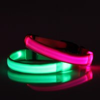 Wholesale S Led Dog Collar - Dog Collars Pure Lighting Dark At Night Pets Safe Accessories LED Collars Dog Supplies Durable Soft S M L  XL Size