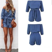 Wholesale Overalls For Ladies - Feitong Fashion Sexy Bodysuit Short Sleeve Summer Off Shoulder Mini Playsuit Ladies Summer Shorts Jumpsuit Overalls For Women