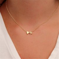 Wholesale Wholesale Name Plate Necklaces - Fashion Tiny Dainty Heart Initial Necklace Personalized Initial Necklace Letter Necklace Name Jewelry girlfriend gift
