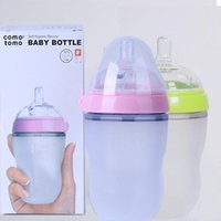 Wholesale New Baby Patchwork - 250ML 8 Ounce Silicone comotomo Baby bottle BPA free 100% silicone food grade designed to latch pink green for new born baby