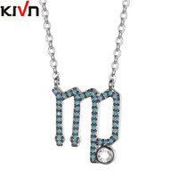 Wholesale Letter M Pendant Necklace - KIVN Fashion Jewelry Constellation Zodiac Sign Letter M CZ Cubic Zirconia Womens Girls Wedding Bridal Necklaces Birthday Mothers Gifts