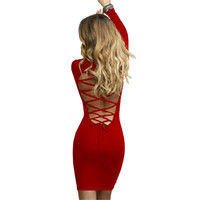 Nadafair Trendy Lace Up Backless Long Sleeve Bodycon Mini Dress Черные красные крест-накрест Stretch Sheath Sexy Club Party Dresses q170713