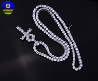 Wholesale Women Necklace Row - 4mm high quality Iced Out 1 Row Zircon tennis 925 sterling silver pendant necklace For men & women gifts rhodium plated jewelry