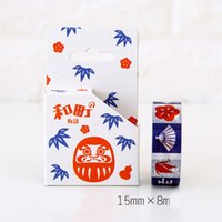 Wholesale Japanese Style Washi Masking Tape - 1x Japanese style Mask umbrella 1.5cmX8m washi tape photo album Scrapbook Adhesive decorative DIY Handmade Gift Card Arts Crafts-2016