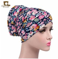 Wholesale Wholesale Vintage Beanies - 2017 NEW vintage flower print soft cotton turban Headscarf women bonnet chemo cap Bandana hijab free shipping