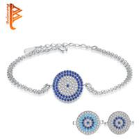 ingrosso braccialetto d'argento doppio collegamento-BELAWANG 3 Stili Bracciali in cristallo blu Bracciali in argento sterling 925 con catene a doppio anello per le donne Regalo di gioielli per il giorno di Natale