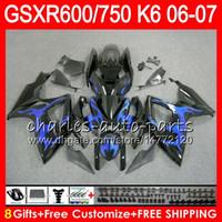 Wholesale Suzuki Fairing Blue Flame - 8Gifts 23Colors Body For SUZUKI GSX-R750 GSXR600 GSXR750 06 07 blue flames 10HM58 GSX R600 R750 K6 GSX-R600 GSXR 600 750 2006 2007 Fairing