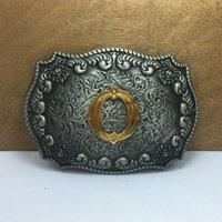 Wholesale Alloy Letter O - BuckleHome fashion western letter O belt buckle with pewter and gold finish FP-03687-O with continous stock free shipping