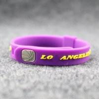 Wholesale Tin Cans For Gifts - Top quality fashion jewelry basketball sport silicone balance bangle metal buckle size can adjust energy bracelet power wristband for lakers