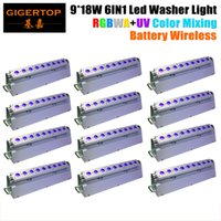 Wholesale Ion Usa - TIPTOP 12XLOT 165W LED Rechargeable Lithium-ion Battery Wireless DMX Indoor RGBWA UV 6IN1 LED Wall Washer Light 9*18W DMX 6 10CH
