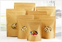 Zip Lock Permanent Kraft Paper Bags com Round Window / Yellow Kraft Package Storage Alimentos secos, frutas, chá, produtos eletrônicos Bolsas