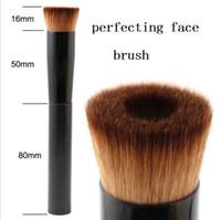 Wholesale face loose powder brush - TOP Quality New Plastic Handle Perfecting Face Brush with black Aluminum tube Loose Powder Makeup Brushes 50PCS LOT DHL