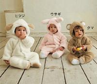 Wholesale Hooded Fleece Romper - Retail Baby Boys Girls Fleece Cotton Animal Hooded One-Piece Romper Children Halloween Xmas Costume Kids Bear Rabbit Sheep Outfit Bodysuit