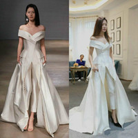 Wholesale sexy celebrities dresses - Sexy Jumpsuit White Evening Dresses Off Shoulder Satin Saudi Arabia Vestidos De Festa Party Dress Prom Formal Pageant Celebrity Gowns