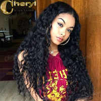 Wholesale Wigs Colours - Stock Curly virgin human hair Lace Front Wig for Black Women Glueless natural colour U Part Wig 130% Density free shipping