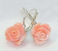 Wholesale Earrings Hooks Leverback - 10-12mm charming Pink Coral Rose Flower 18KWGP Hook Earrings~~Leverback
