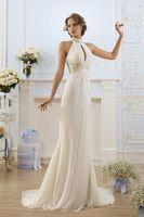 Wholesale Mermaid Greek Chiffon Dress - 2017 Greek Style Elegant Ivory High Neck Beaded Off Shoulder Beach Wedding Dresses Mermaid Simple