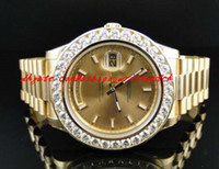 Wholesale Mens Solid Gold Bracelets - Stainless Steel Bracelet New Mens 2 II Solid 18 kt 41MM Diamond Watch Gold Dial 8 Ct Automatic Mechanical MAN WATCH Wristwatch