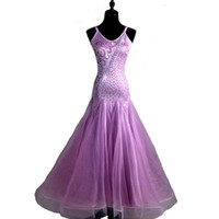 Wholesale tango ballroom dance dress - Ballroom Dance Competition Dresse Flamenco Standard Dance Dresses Waltz Tango D0243 Light Purple Rhinestones Big Hem