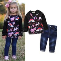 Wholesale Girls Long Sleeve Ruffle Tee - Girls Outfits 2017 Fall Unicorn Print Ruffle long Sleeves Tee shirt Top and Jeans Clothing Sets for Girls Boutique Children Clothes