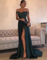 Wholesale Sequin Dress Cutout - 2017 Evening Gowns A-Line Hunter Green Chiffon High Split Cutout Side Slit Lace Top Sexy Off Shoulder Hot Formal Party Dress Prom Dresses