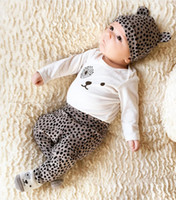 Wholesale Shirt Babys - Ins Babys Girls Boys Leopard Romper Newborn Clothing 2017 New Autumn Winter Jumpsuits Rompers Long Sleeve T-shirt Pants Hats 3Sets YAN-259