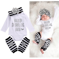 Wholesale Baby 3pcs Set Bow - Wholesale- Newborn Infant Baby Girl Bodysuit Romper Stripe Bow Headband Warmer 3pcs Outfits k Clothing Set 0-18M